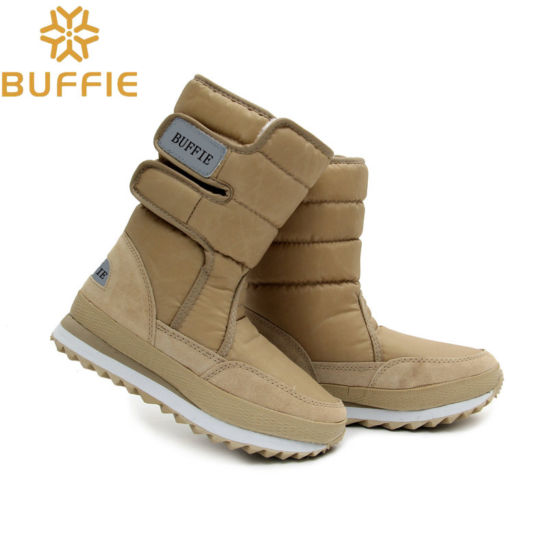 discount women snow boots khaki beige boots cow suede leather rubber outsole slip resistance warm fur lining lady girl winter