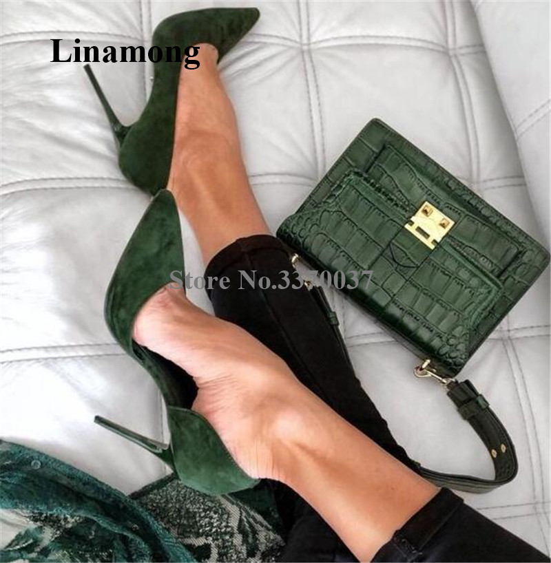 <font><b>Women</b></font> Classical Style Pointed Toe Dark Green Suede Leather Stiletto Heel Pumps Slip-on High Heels Formal Dress <font><b>Shoes</b></font> Wedding image
