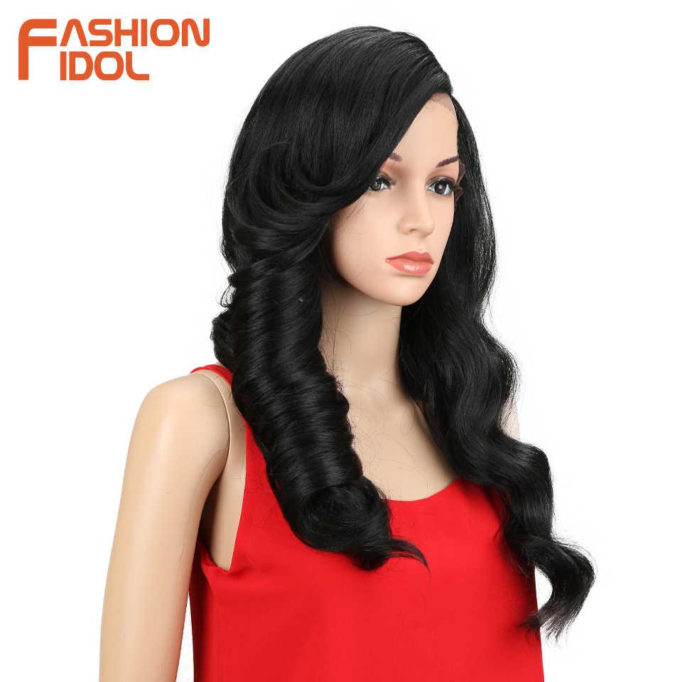 الأزياء المعبود طويل الشعر الاصطناعية الدانتيل شعر مستعار أمامي فضفاض ديب متموجة 24 بوصة أومبير 130% الحرارة مقاومة بيروكات صناعية للنساء السود
