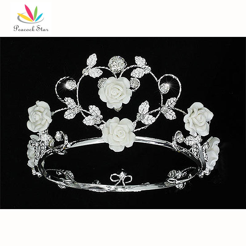 Peacock Star Handmade Flower Girl / Baby Crystal White Ceramic Heart Full Circle Round Mini Crown Tiara CT1771