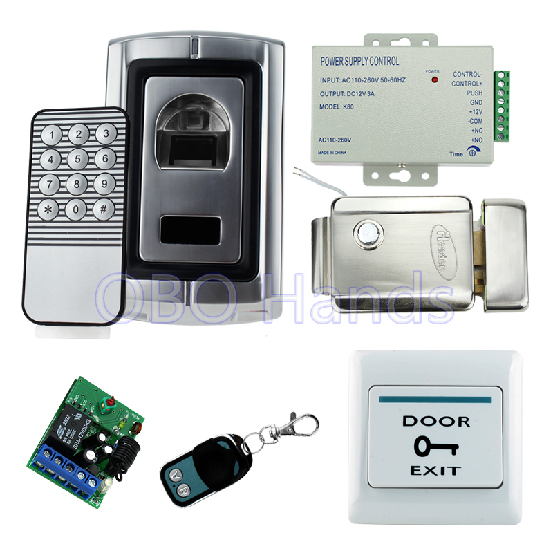Full kit finger scanner biometric fingerprint access control F007+electric control lock+power supply+exit button+remote control biometric fingerprint access controller tcp ip fingerprint door access control reader