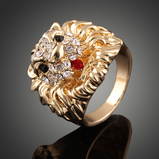 5396ed8d2 New lion head plating gold ring Crystal Rings Women Rhine stone Wedding  Romantic Engagement Rings Jewelry