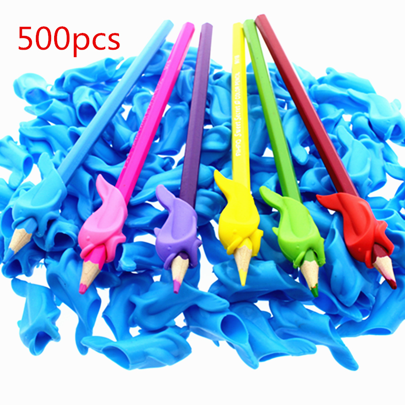 500pc ergonomic pen Pencil Grip Boy Girl Universal Handwriting Aid accesory Occupational Therapy Kids Pen Control Right Silicone Pen refill     - title=