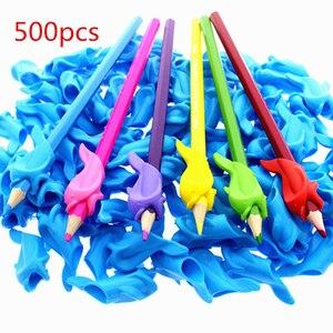 Image 1 - 500pc ergonomik kalem kalem tutacağı erkek kız evrensel el yazısı yardım aksesuar mesleki terapi çocuklar kalem kontrolü sağ silikon