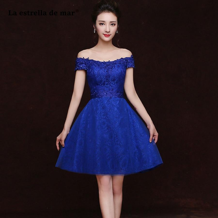 La estrella de mar robe demoiselle d'honneur d'honneur2019 nouveau col bateau dentelle manches courtes une ligne bleu Royal robe de demoiselle d'honneur courte pas cher