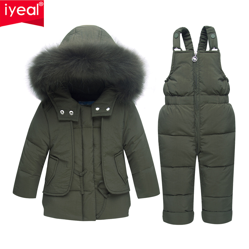 IYEAL Children Winter Clothing Set Boys Ski Suit Girl Down Jacket Coat + Jumpsuit Kids Clothes For Baby Boy/Baby Girl 1-4 Years iyeal fashion baby boys clothes set cotton long sleeve tops vest pants 3 pieces suit for kids boy children clothing 1 4 years