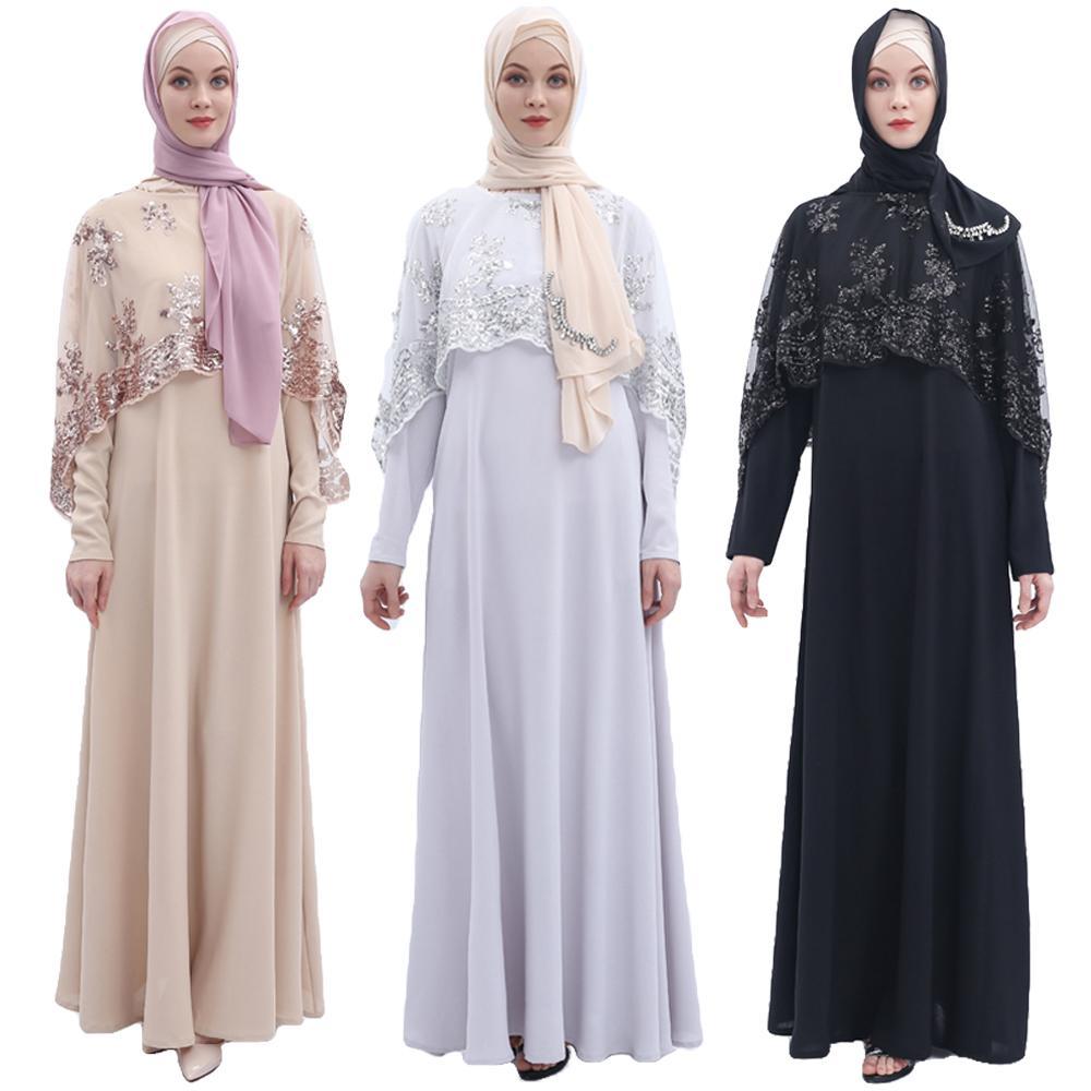 Robe de Cape musulmane en paillettes Abaya dubaï 2 pièces ensemble caftan pour femmes Cape longue Robe de soirée Robe de Cocktail élégante Robe turque nouveau
