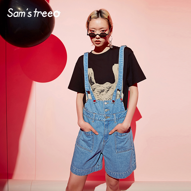 Samstree Women Cotton Denim Overalls For Women Jeans With Pockets Vintage Bib Overall Pants Buttons Female Plus Size 2019 Bottom