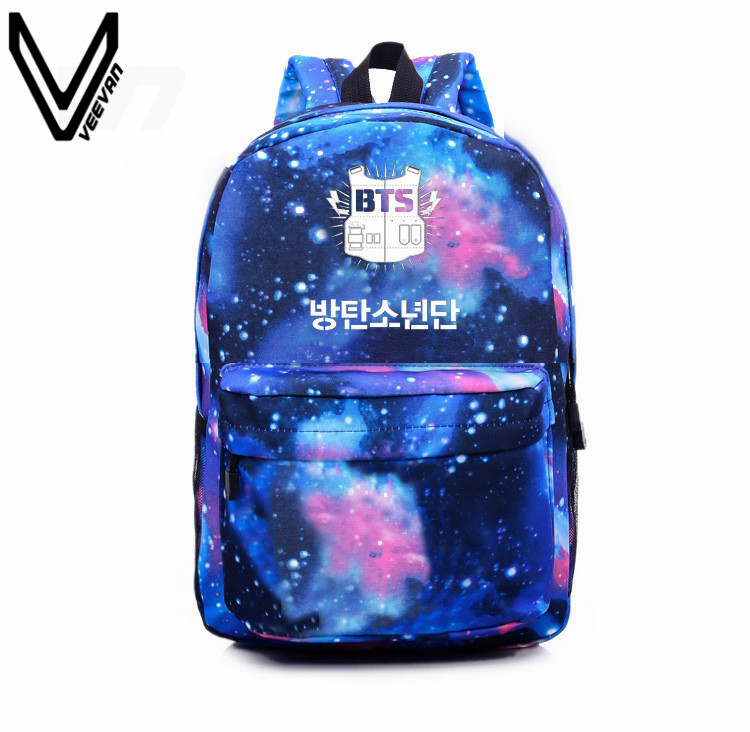 2016 Korean K-POP Galaxy Blue Backpacks BTS Bags EXO GOT7  VIXX Canvas Printing Backpack School Bag Big Space Shoulder Backpacks  free shipping korean version candy colors fairy tail logo printing man woman canvas schoolbag red green black blue backpacks