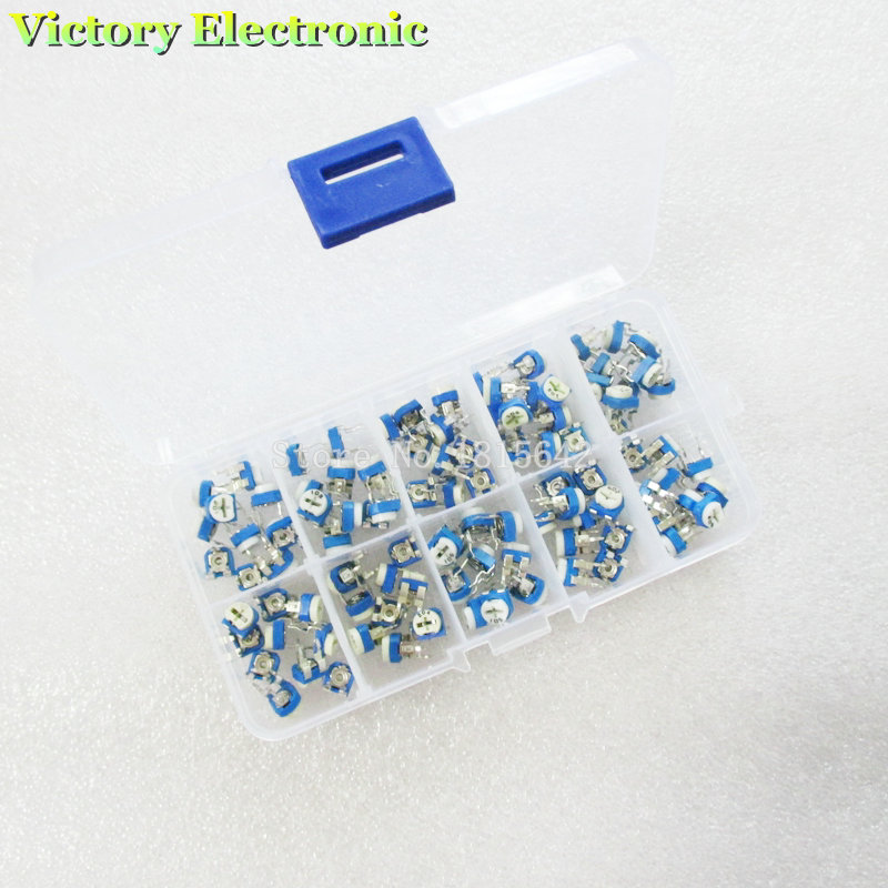 100Pcs/Box RM065 Carbon Film Horizontal Trimpot Potentiometer Assortment Kit 10 Values Variable Resistor 500R - 1M