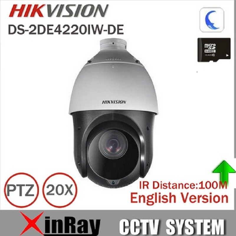 In stock Hikvision Original English 2MP PTZ DS-2DE4220IW-DE PTZ IP camera CCTV security Surveillance POE ONVIF POE CCTV Camera ds 2cd4026fwd a english version 2mp ultra low light smart cctv ip camera poe auto back focus without lens h 264