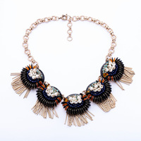 Womens Jewellery Statement Irregular Imitation Pearl Black Flower Personality Punk Necklace