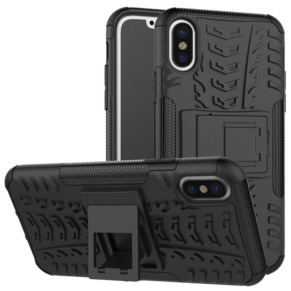 For iPhone X Shockproof Hybrid Rugged TPU Armor Silicone Rubber Stand Hard Case For iPhone X Back Cover Case