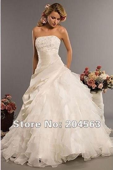 Elegant Strapless Wedding Dresses New Bridal Dress with Ruffle Skirt Custom size colour