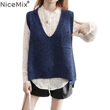 NiceMix 2019 Spring Vest Women Sweater Casual Loose Plus Size Pullovers Female Knitted Sweaters Pull Femme