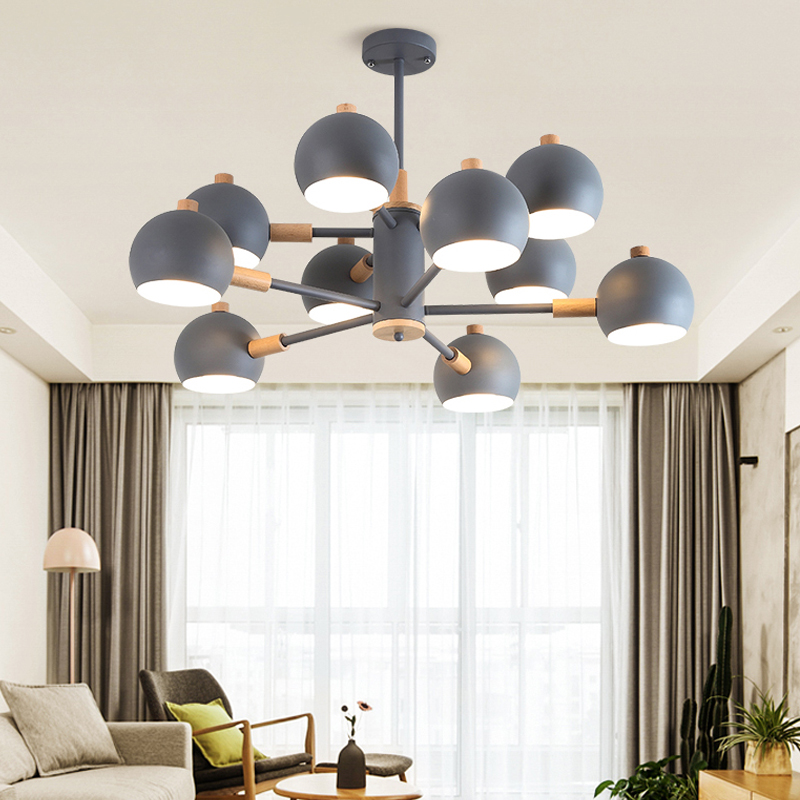 LED Chandelier Living Room Bedroom Home Decoration Indoor Lighting Fixture Hanging Lamp Creative Design Round Iron Wood Lights