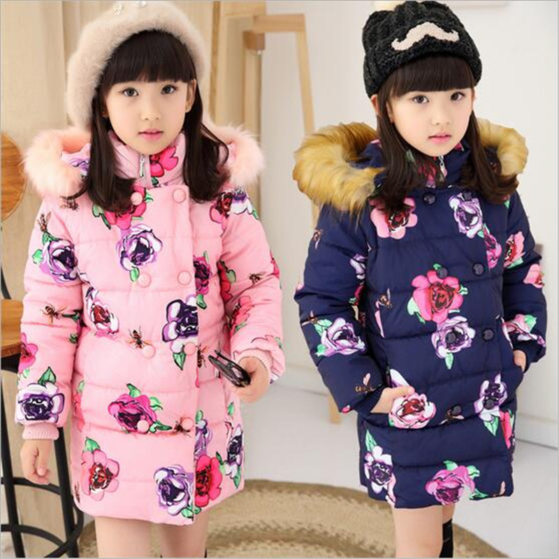 2016 Girl Winter Warm Print Flower Coat Girl Long Sleeve Fur Hooded Fashion Long Down Clothes