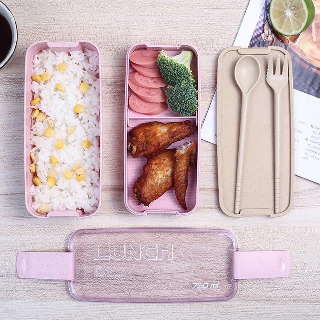 750 ml Gezonde Materiaal 2 Layer Lunchbox Tarwe Stro Bento Dozen Magnetron Servies Voedsel Opslag Container Lunchbox