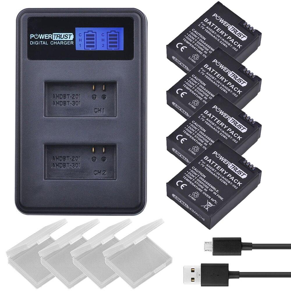 4 piezas 3,7 V 1600 mAh AHDBT-301 AHDBT301 AHDBT 301 Li-Ion batería de la cámara para GoPro Hero3 + LCD Dual USB cargador para Gopro héroe 3/3 +