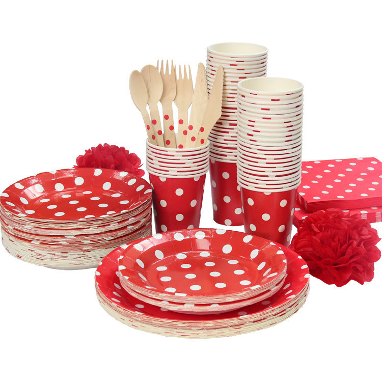 Red u0026White Polka Dots Party Tableware Birthday Party paper plate cups napkins paper straw Cutlery Set on Aliexpress.com | Alibaba Group  sc 1 st  AliExpress.com & Red u0026White Polka Dots Party Tableware Birthday Party paper plate ...