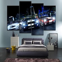 Decor Framework Canvas Painting HD Print 4 Pieces Wall Art Home City Landscape In Night And Muscle Car Modular Picture