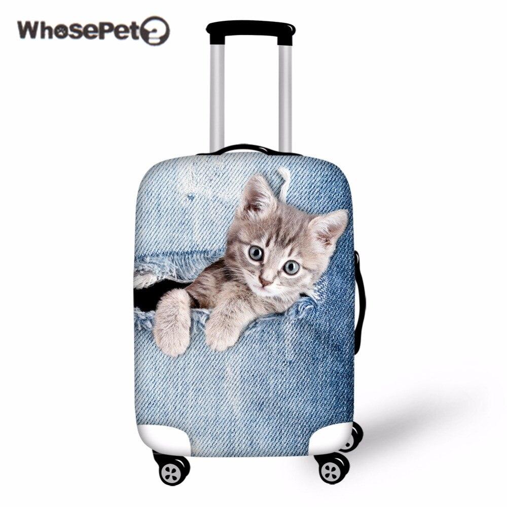 Whosepet 3D принтом кота Чемодан чехол Защитный чемодан милые Туристические товары случае применяются к 18-30 дюймов Товары для собак багажа Чехлы...