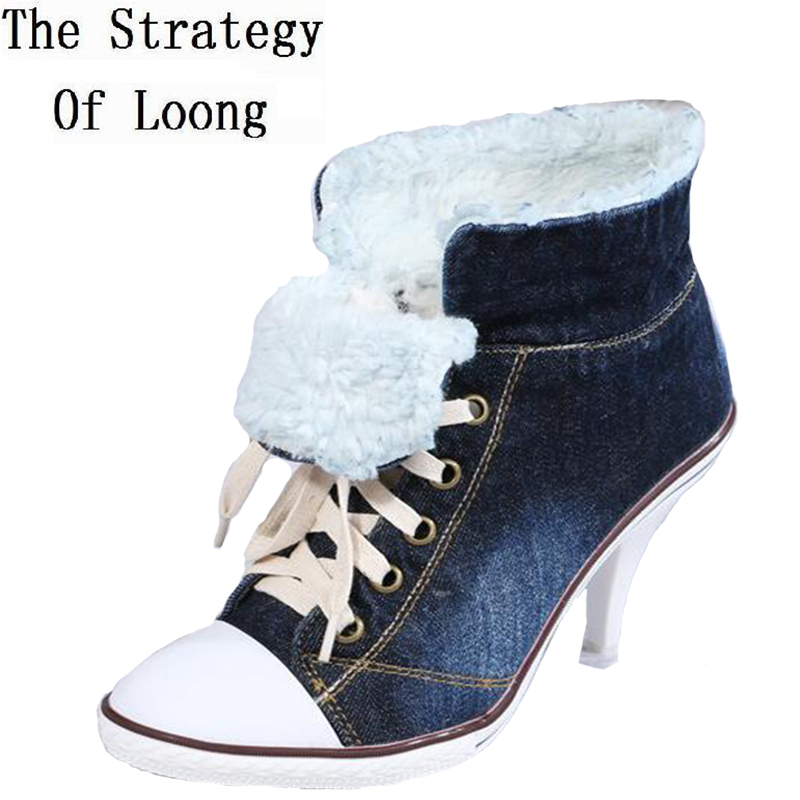Pointed Toe Lace Up Women Denim Ankle Boots Thick Warm Lady High Heels Short Boots Plus Size 41 42 Big Size Jean Shoes 2017 mens winter stretch thicken jeans warm fleece high quality denim biker jean pants brand thick trousers for man size 28 40