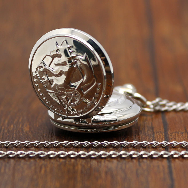 Small New Silver Tone Fullmetal Alchemist Pocket Watch Cosplay Edward Elric with Chain Anime Boys Gifts antique fullmetal alchemist full metal case bronze pocket watch with chian necklace christmas