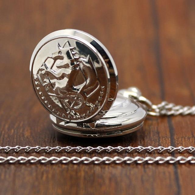Small New Silver Tone Fullmetal Alchemist Pocket Watch Cosplay Edward Elric with