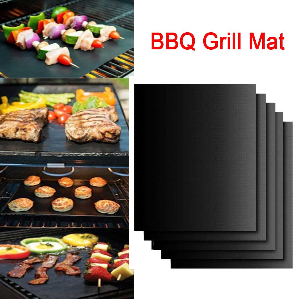 Outdoor BBQ Grill Mat Non-stick Barbecue Baking Pad Liners Reusable Teflon Cooking Plate 40 * 30cm Cooking Tool