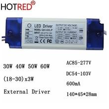 2 חתיכות 40 W 50 W 60 W LED נהג 18 30x3W 600mA DC54 105V גבוהה כוח LED Powr אספקת הארה