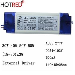 Image 1 - 2 חתיכות 40 W 50 W 60 W LED נהג 18 30x3W 600mA DC54 105V גבוהה כוח LED Powr אספקת הארה
