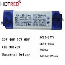 2 pièces 40 W 50 W 60 W LED Driver 18 30x3W 600mA DC54 105V haute puissance LED Powr alimentation pour projecteur