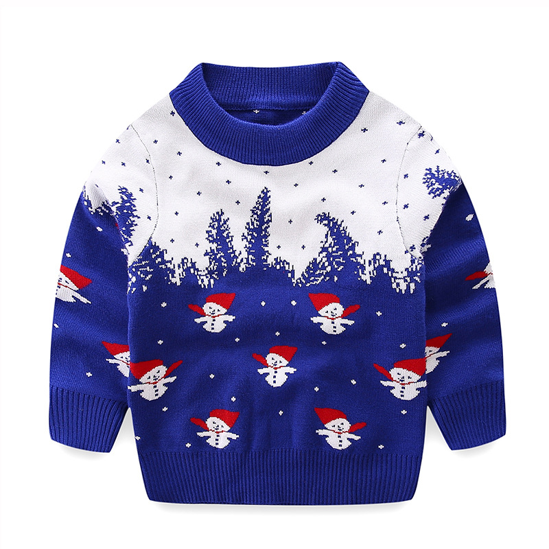 Blue And White Christmas Sweater.Boys Sweaters Knitting Snowman Pattern Boy Pullovers Fall Winter Kids Boys Clothing Blue White Thick Christmas Sweater 2 7t Nb01 Knit Child Sweater