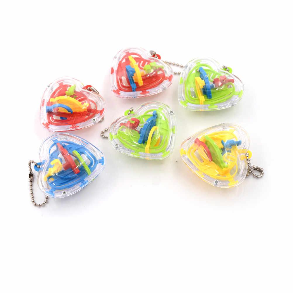 2 uds. 3D mágico 3D Metal rompecabezas bola juguetes para niños collar llave Cubo de giro bola laberinto bolas corazón mágico Cubo Juguetes