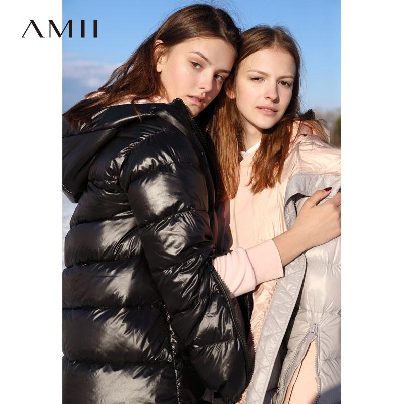 `Amii minimalist port wind chic hooded down jacket 2018 winter new cuffs zipper 90 velvet down coat