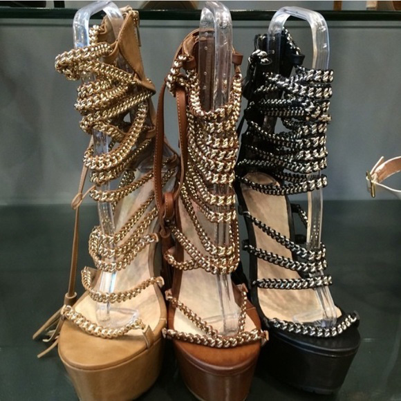 602724877b346c Fashion Strappy Fringe Lace Up Platform Sandals Brown PU Leather Chain Rope  Woven High Heels Sexy Open Toe Stiletto Heel Sandals-in High Heels from  Shoes on ...