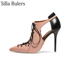 3e40dc2789 Silla Rulers Sexy leather cross lace up pointed toe high heel pumps women  rome thin heel lady sandals Hollow out Single shoes