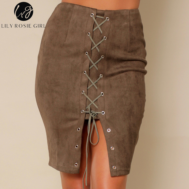Lily Rosie Girl Pencil Skirts Lace Up Bow Sexy Suede Leather Skirt Vintage Autumn Women Causal Short Mini Skirt