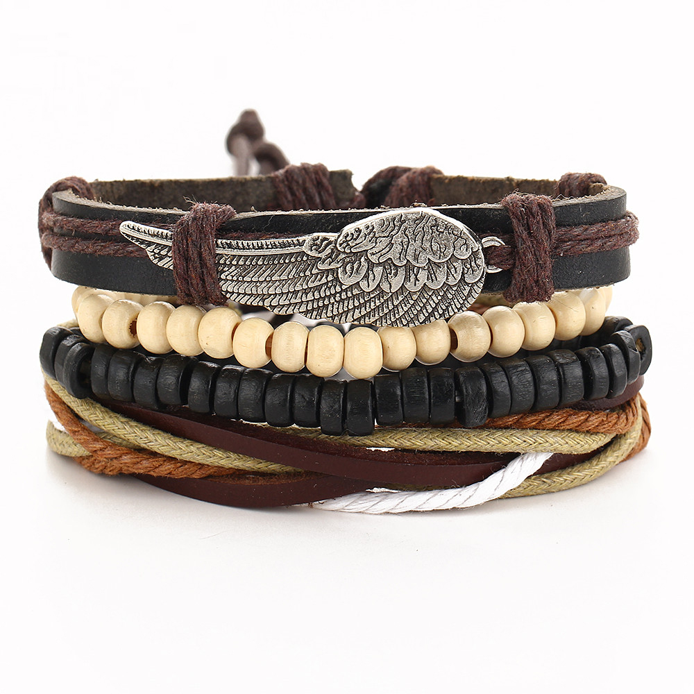 1 Set 4 pcs Multilayer Leather Bracelets Angle Wing Wood Bea