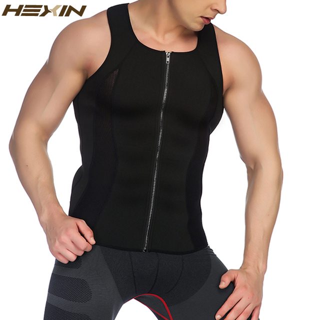 HEXIN Men's Zipper Neoprene Shaper Slimming Vest Tops Shapewear Tummy Control Body Shapers Trainer Belt Trimmer Compression 1