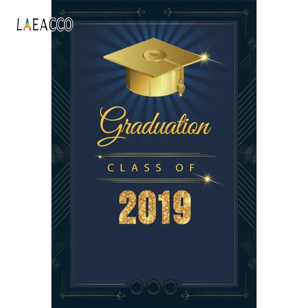 Laeacco Graduation 2019 Shiny Gold Polka Dot Bachelor Photography Backgrounds Customized Photographic Backdrops For Photo Studio