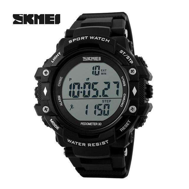 Skmei Marca de luxo Relógios Homens À Prova D' Água Ao Ar Livre Esportes Pedômetro Digital LED Black Watch Estudante Relógio Masculino relógios de Pulso