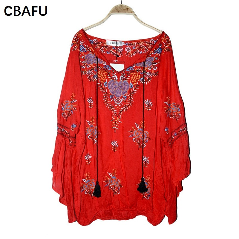 CBAFU Bohemian People Hippie Chic Blouses Loose Flare Sleeve Embroidery Shirts V Neck Boho Tops Blusas  Women Clothing X031