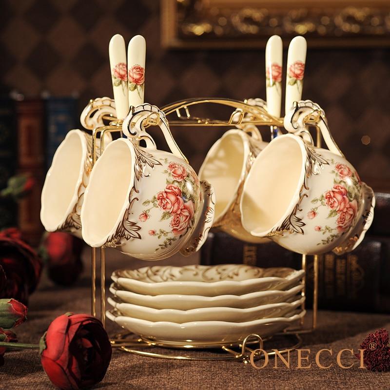 Creative European Porcelain Coffee Cups Set China Chinese Wedding Tea Set Home Decoration Accessories 1