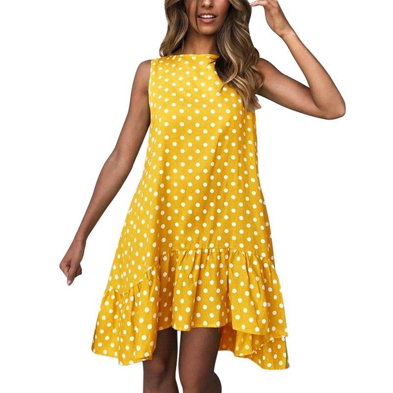 WENYUJH Summer Polka Dot Print Mini Dress Women 2019 Loose Style Ruffles Sleeveless Beach Dresses O Neck Casual Plus SIize 2XL