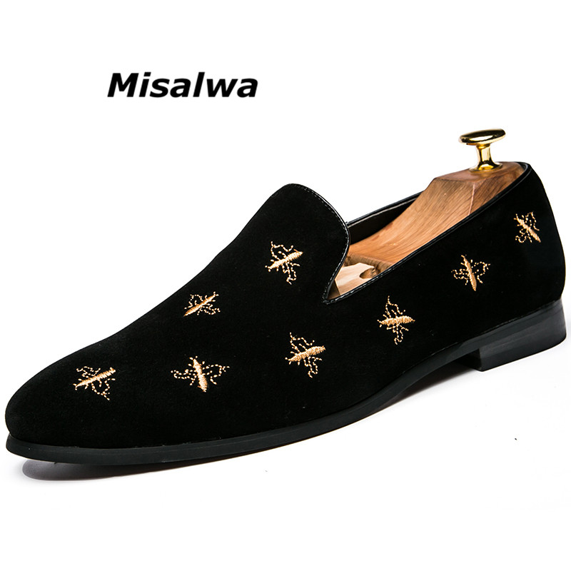 Misalwa Brand 2018 Fashion Luxury Men Comfotable Leisure Shoes Bee Tradition Embroidery Loafer Casual Driving shoes