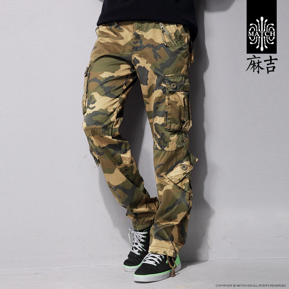 2019 printemps nouveauté Match camouflage long pantalon lâche grande taille multi poches Combat militaire armée cargo pantalon pour hommes