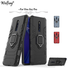Vivo X27 Pro Case Armor Metal Finger Ring Holder Hard PC Phone For Back Cover BBK Kickstand Shell
