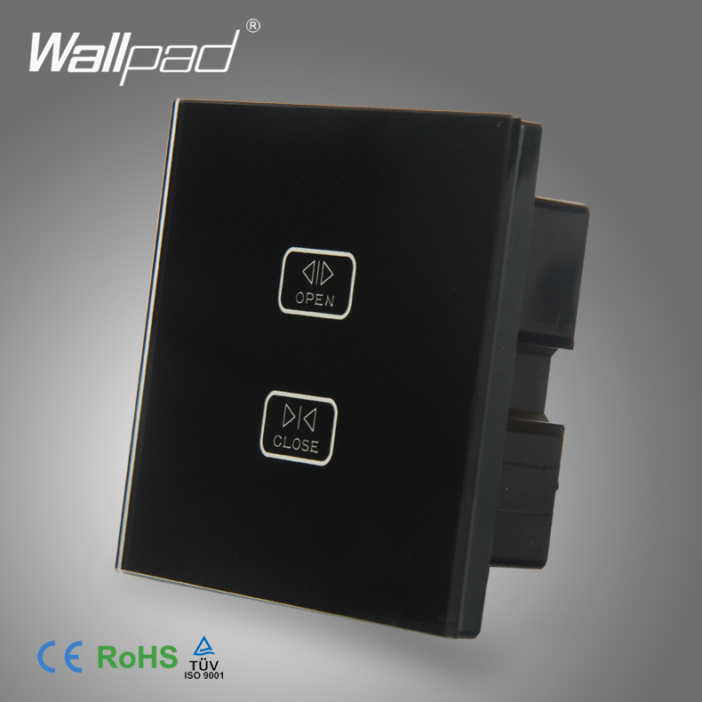 Curtain Switch Factory Direct Sales Wallpad Black Tempered Glass Switch 2 Gang Touch Curtain Shutter Window Control Wall Switch remote control wall switch white electric curtain switch and touch switch